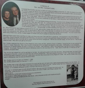 Dudley - full page memorial in the Atlantic District Historical Room